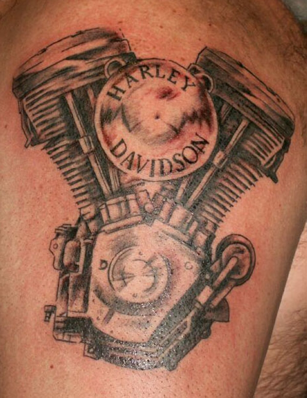 Harley Davidson Engine Tattoo