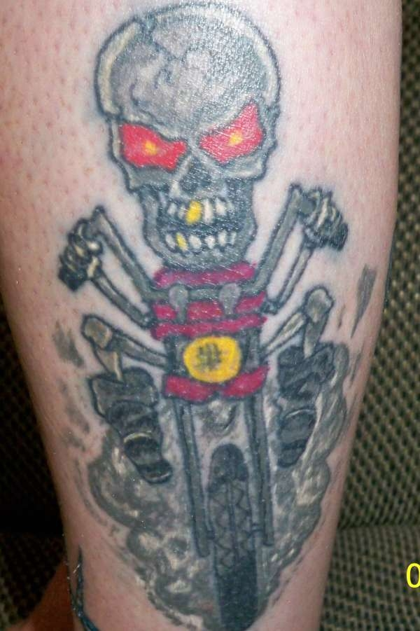skeleton sporting his harley tattoo 35 Groovy Harley Davidson Tattoos