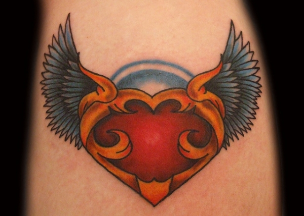 New School Heart With Angel Wings Custom Tattoo