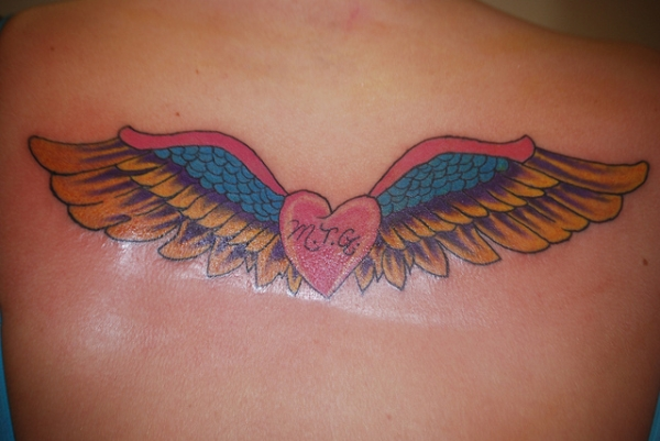 Personal Wings Heart Tattoo