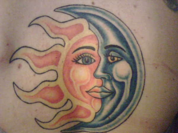 Happy Sun Moon Tattoo