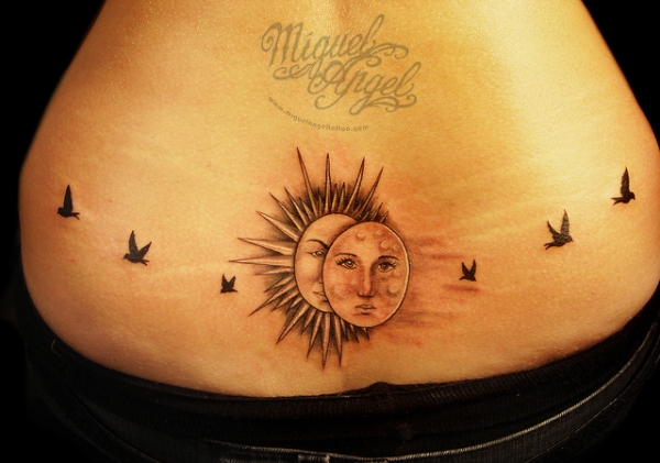 Sun And Moon With Birds