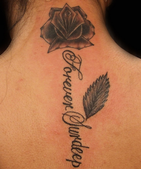 name with rose and leaf 30 Cool Name Tattoo Ideas