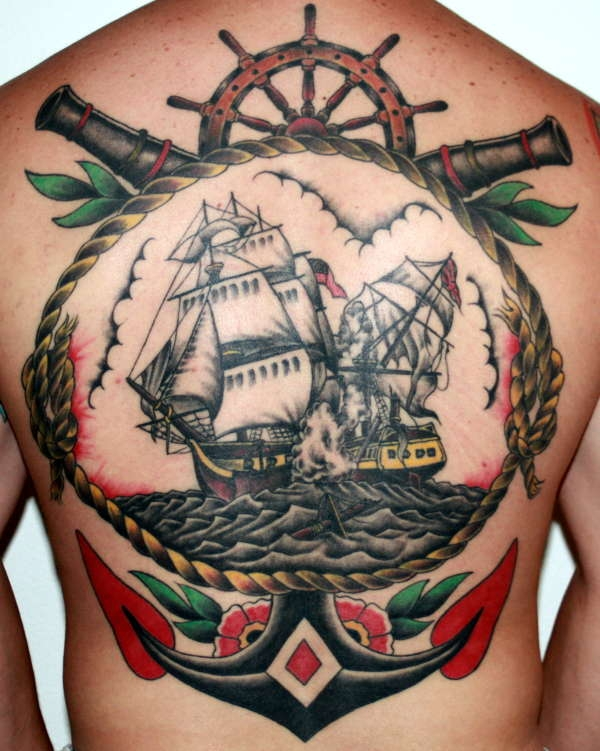 navy back tattoo 30 Navy Tattoos Which Will Make You Go Sailing