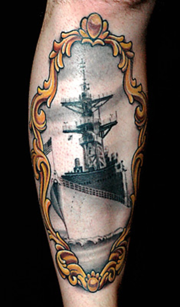navy ship tattoo 30 Navy Tattoos Which Will Make You Go Sailing