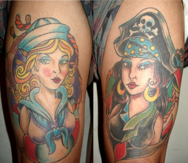 old school pin up tattoo 25 Awesome Old School Tattoos