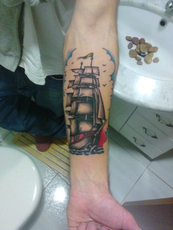 ship tattoo 25 Awesome Old School Tattoos