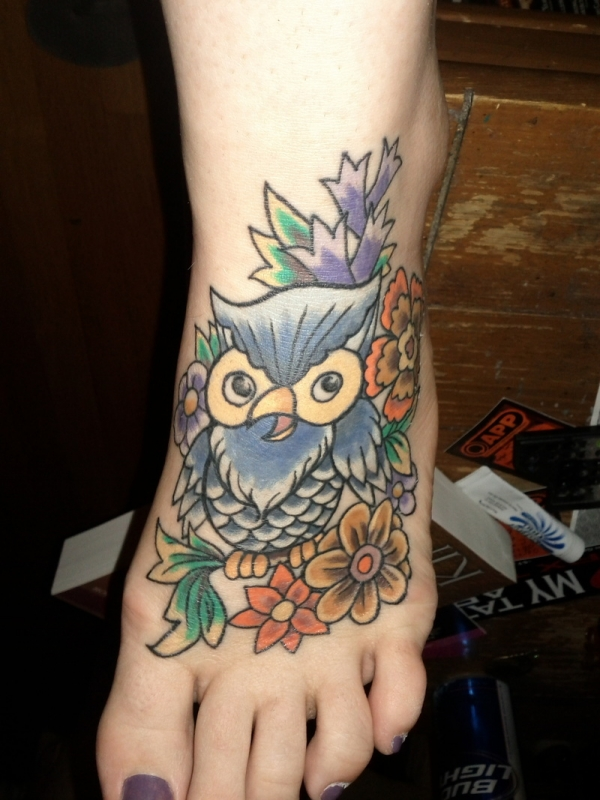 Women Foot Owl Tattoos Picture 1