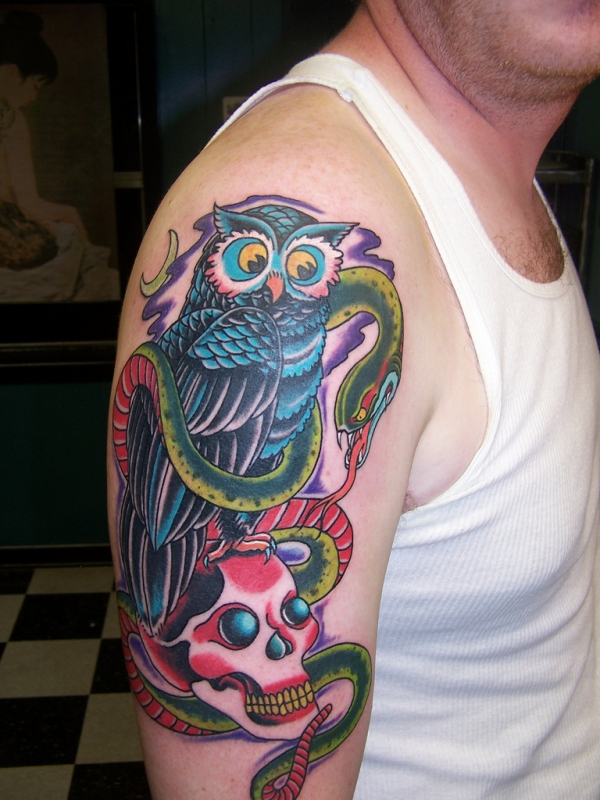 owl and snake tattoo 20 Awesome Owl Tattoo Designs