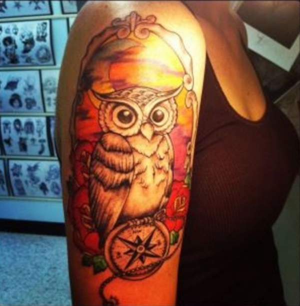 owl on compass 20 Awesome Owl Tattoo Designs