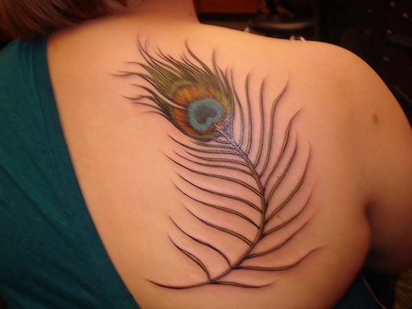 Back Feather Tattoo