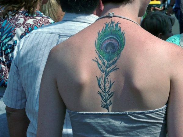 Cool Back Feather Tattoo