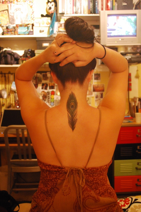 Upper Back Feather Tattoo
