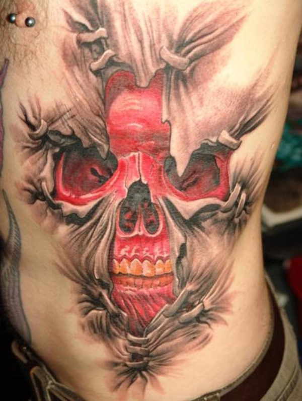 front tattoo 25 Marvelous Rib Cage Tattoos