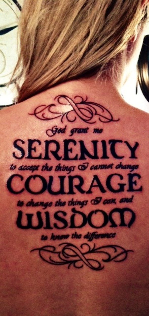 Bold serenity prayer tattoo