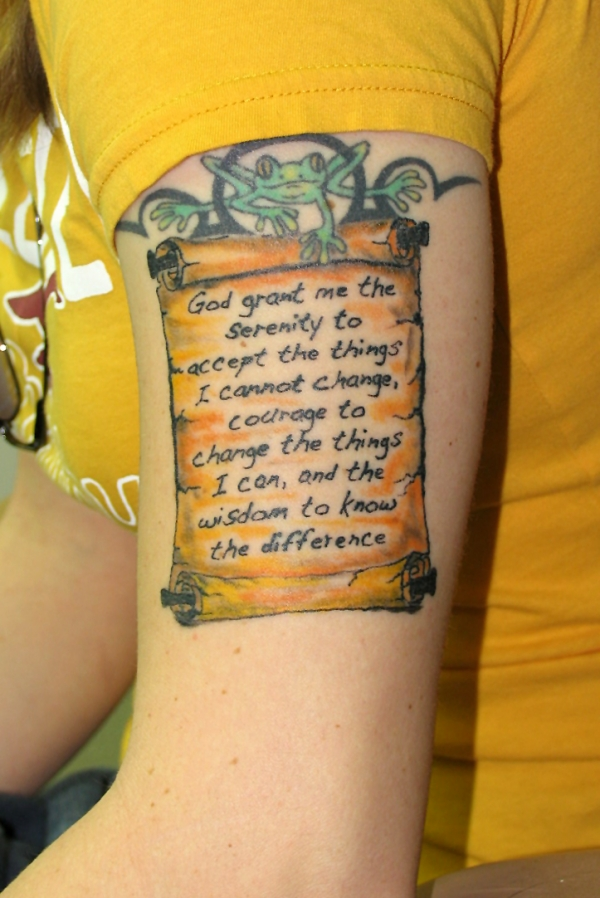 frog serenity prayer 20 Nice Serenity Prayer Tattoo Designs