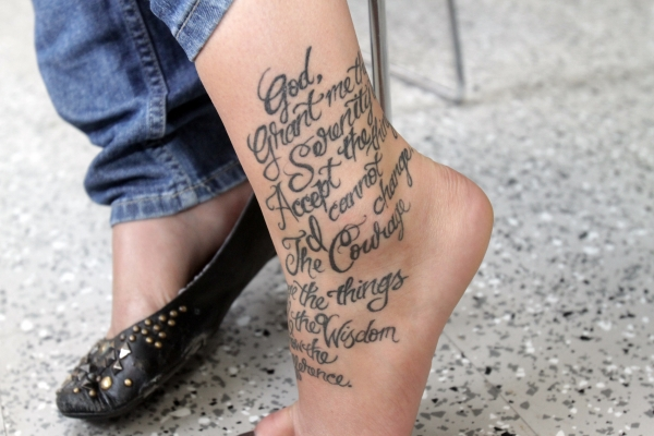 serenity prayer on ankle 20 Nice Serenity Prayer Tattoo Designs