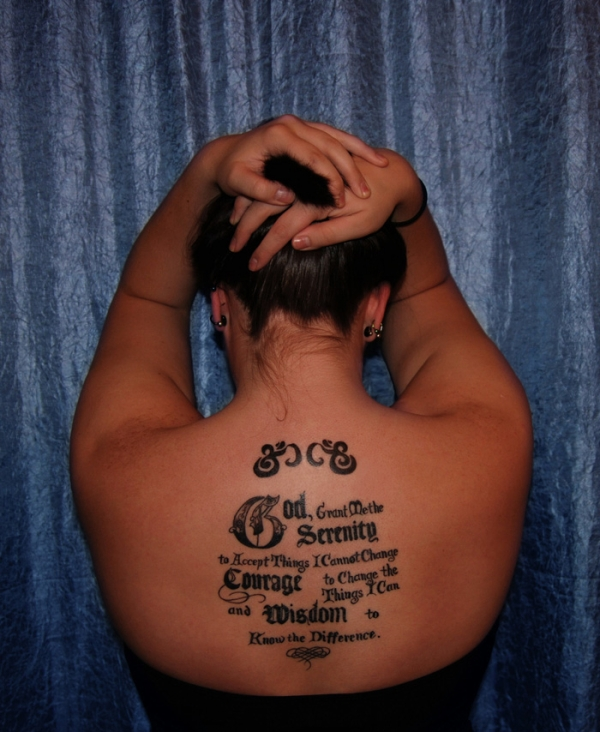 serenity prayer on back 20 Nice Serenity Prayer Tattoo Designs