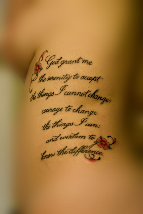 serenity prayer with flowers 20 Nice Serenity Prayer Tattoo Designs