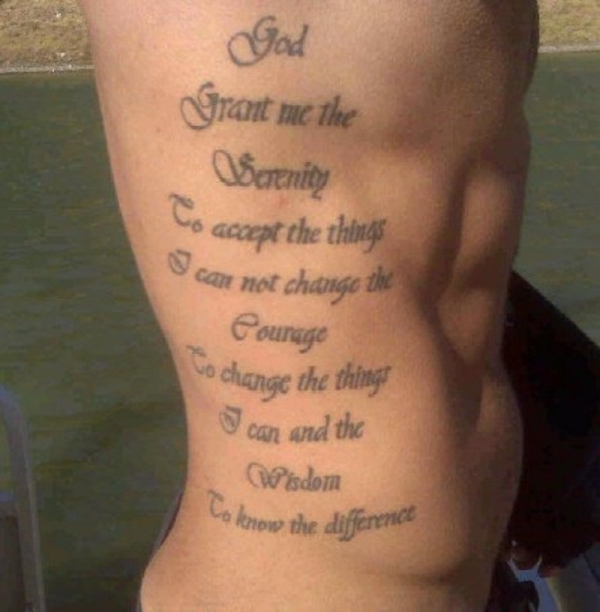 serenity rib tattoo 20 Nice Serenity Prayer Tattoo Designs
