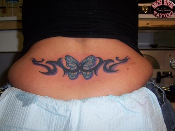Butterfly Tribal Lower Back Tattoo