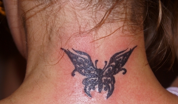 Tribal Butterfly Neck Tattoo