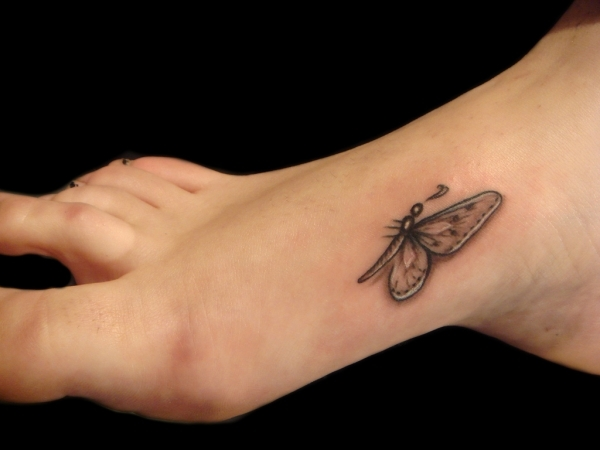 Tribal Foot Butterfly Tattoo