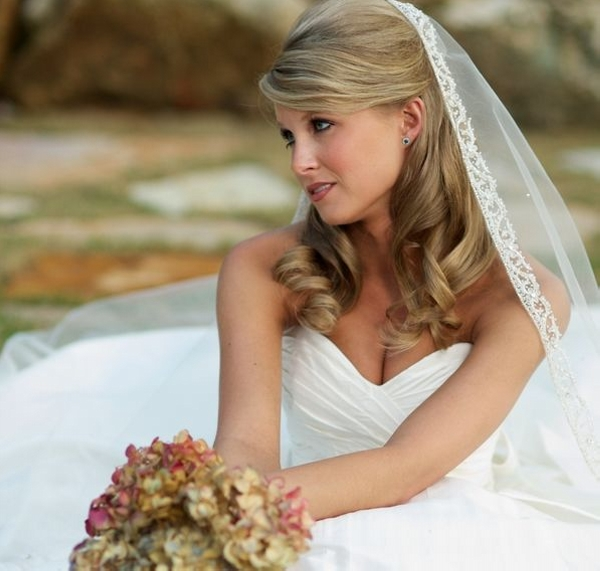 half tied 20 Awesome Wedding Hairstyles For Medium Hair