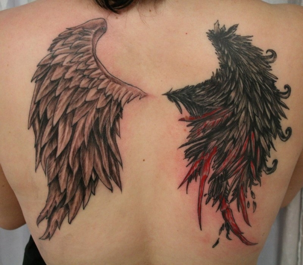 angel devil bleed wing 25 Holy Angel Tattoos For Men