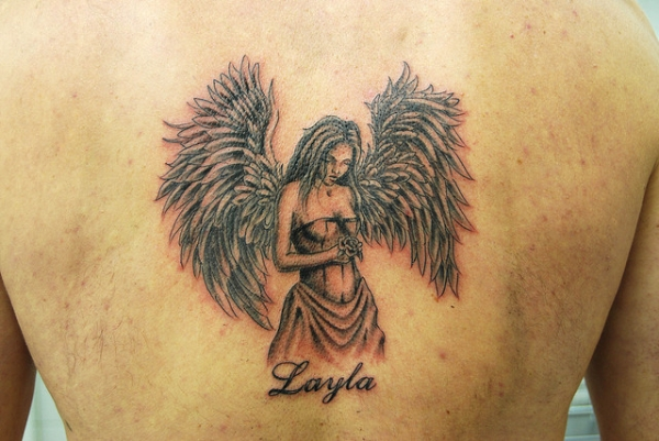 layla angel tattoo 25 Holy Angel Tattoos For Men