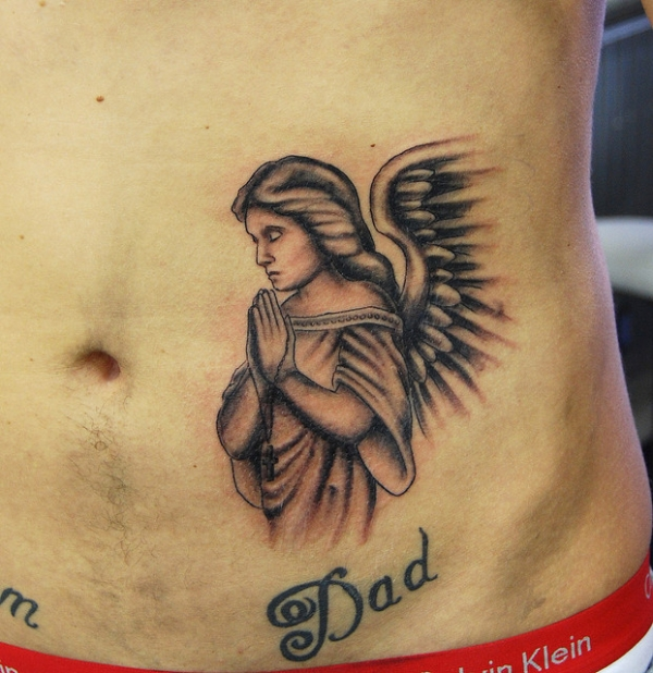 praying angel tattoo 25 Holy Angel Tattoos For Men