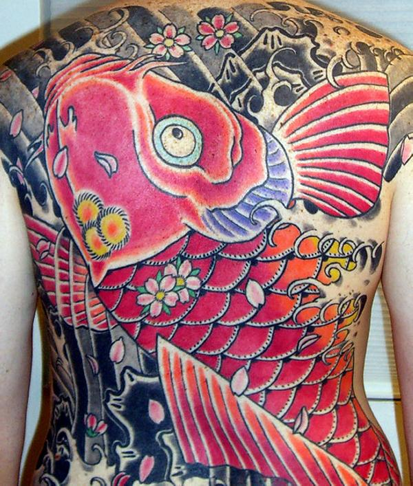 Full Back Koi Fish Tattoo