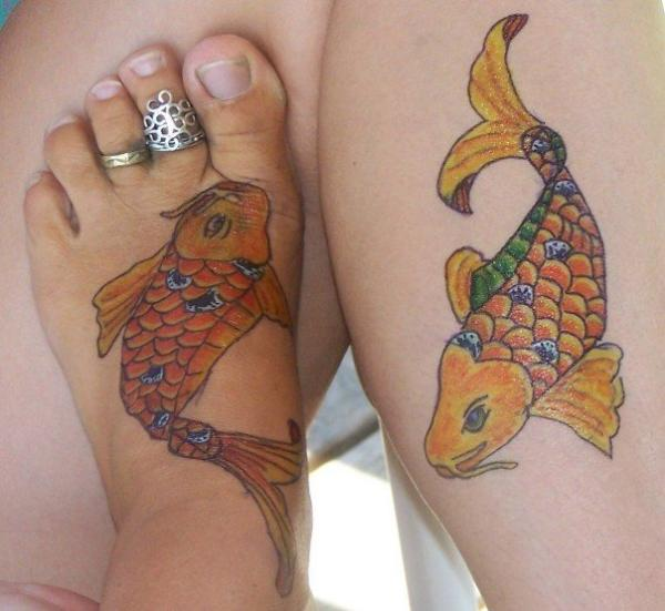 Pair Of Koi Fish Tattoos