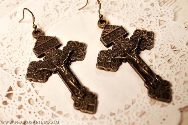 Large Bronze Cross Earrings