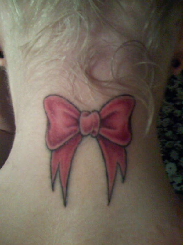 red bow tattoo 35 Awing Neck Tattoos for Girls