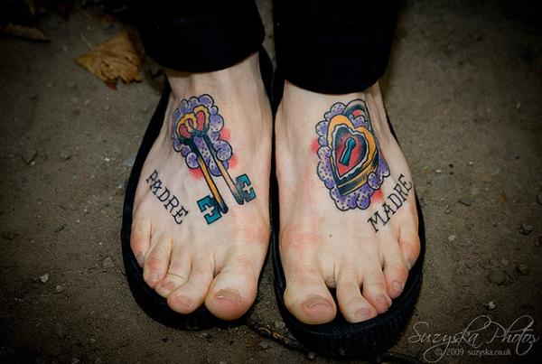 foot key lock tattoo 25 Awesome Lock And Key Tattoos