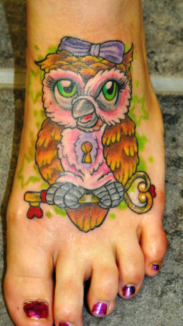 owl lock n key 25 Awesome Lock And Key Tattoos