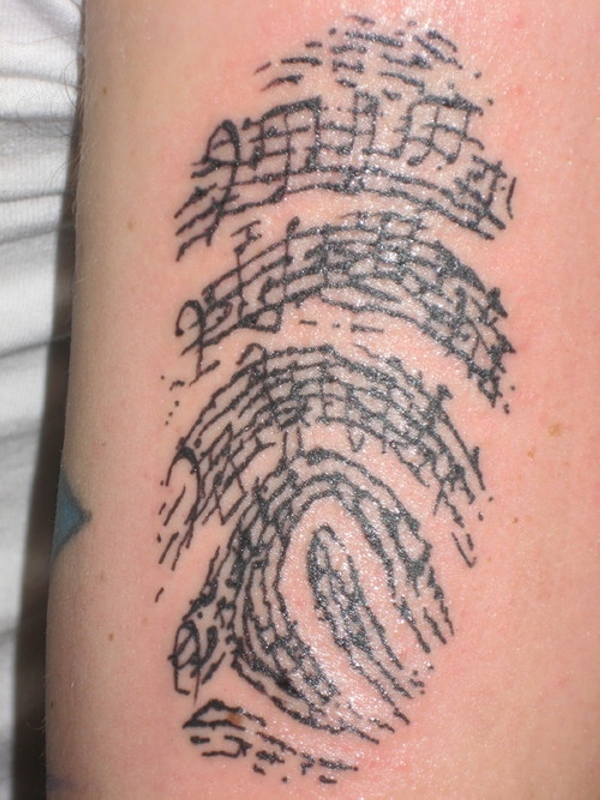 Finger Print Arm Tattoo