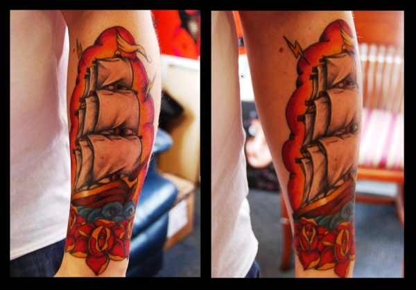 Ship Arm Tattoo