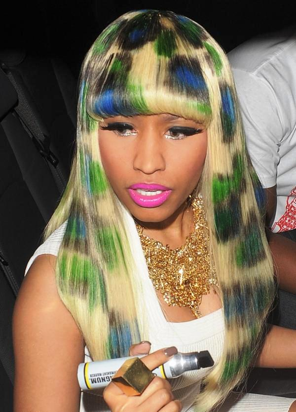 Nicki Minaj Spotted In Blue Green Hair