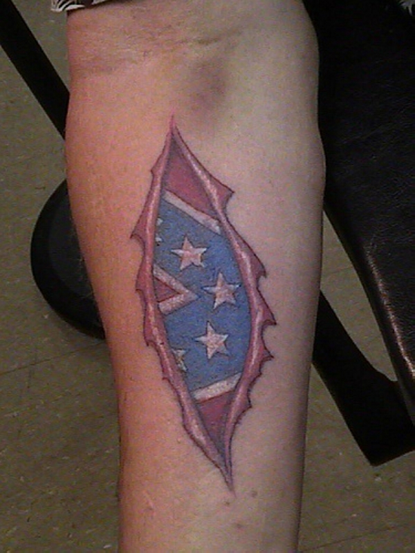 southern rip out 30 Cool Rebel Flag Tattoos