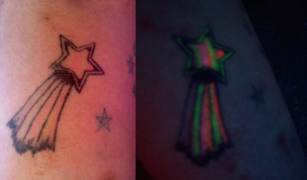 Rainbow Glowing Shooting Star Tattoo
