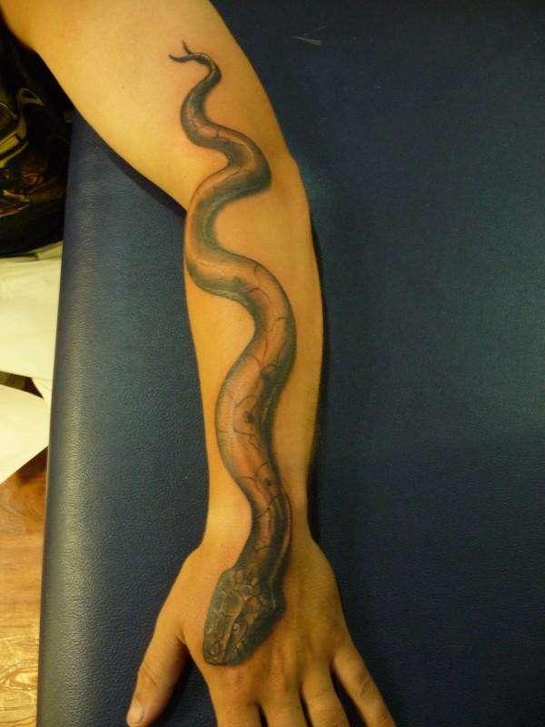 crolling snake tattoo 30 Scary Snake Tattoos