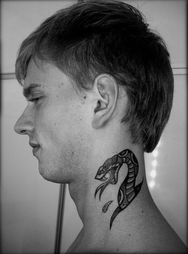 Snake Tattoo On The Neck