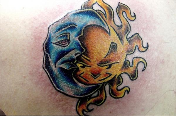 Rock Solid Moon And Sun Tattoo