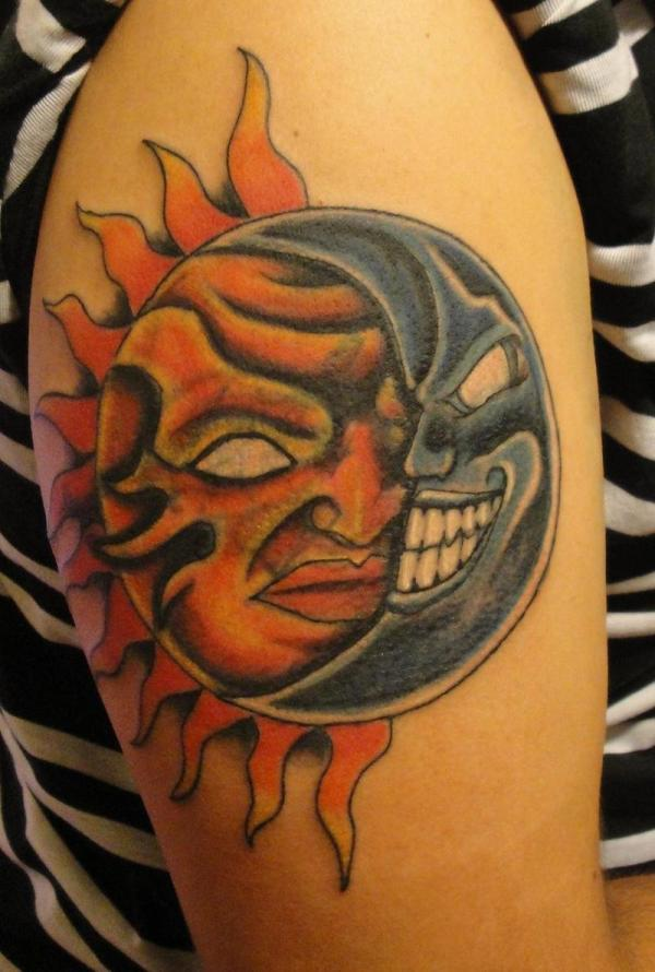 Wicked Sun And Moon Tattoo