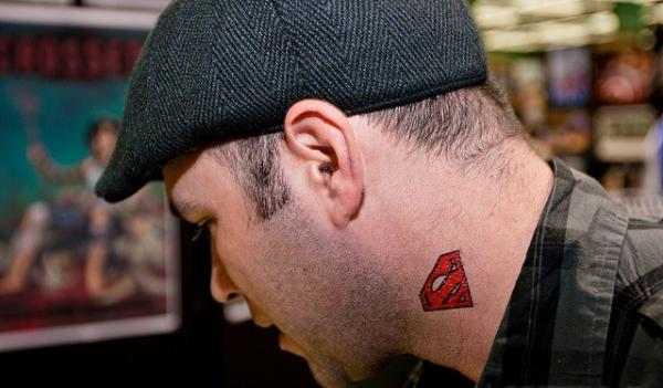 Superman Neck Tattoo