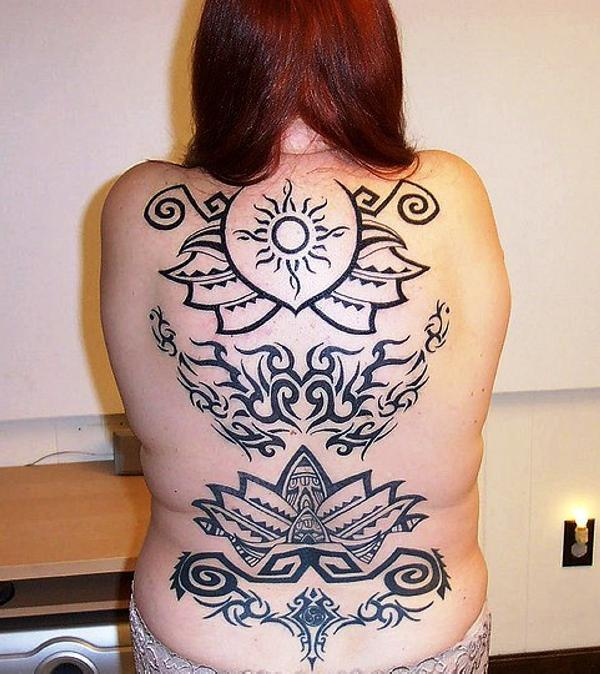 Large Tribal Back Tattoo
