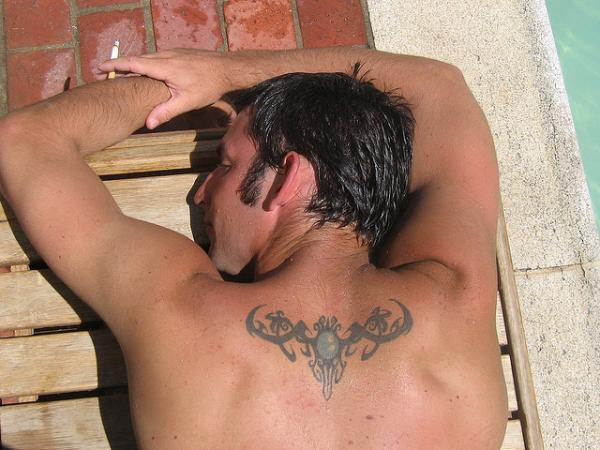 Upper Middle Back Tribal Tattoo