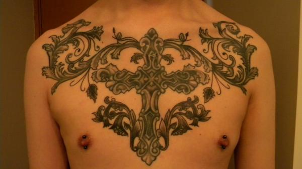 Chest Cross Tattoo Piece